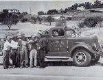 1946 - October 17th Fairview taking proud delivery of Fire station Truck. Note the passing of the keys. Also note the Castro Valley landscape.